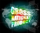 Gross National Product Word On Digital Touch Screen