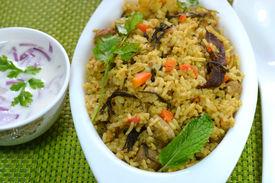 foto of raita  - Vegetable biriyani served with raita - JPG