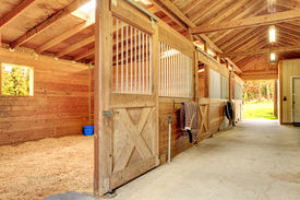 foto of stall  - Stable barn with beam ceiling and open door to a clean stall - JPG