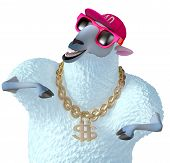 picture of rapper  - 3 d cartoon cute rapper blue sheep - JPG