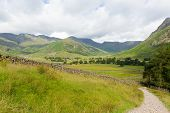 pic of dungeon  - View of Langdale Valley Lake District Cumbria on walk to Blea Tarn from campsite by Old Dungeon Ghyll England UK - JPG