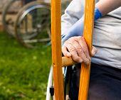 stock photo of crutch  - Elderly homecare  - JPG