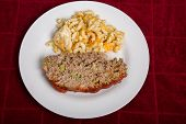pic of meatloaf  - A Traditional meatloaf with macaroni and cheese - JPG