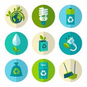 stock photo of dustbin  - Ecology and waste flat icons set of trash recycling conservation isolated vector illustration - JPG