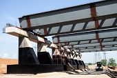 stock photo of girder  - Steel girders at the road construction in Russia - JPG
