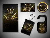 image of exclusive  - Vip members only premium golden exclusive cards set isolated vector illustration - JPG