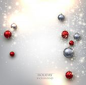 image of xmas star  - Elegant shiny Christmas background with baubles and place for text - JPG