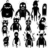 stock photo of halloween characters  - Little Monster characters vector collection set  02 - JPG