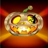 image of movable  - Halloween design element of a witch driving a pumpkin UFO - JPG