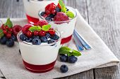 foto of frozen food  - Yogurt dessert with red currant jelly and fresh berries