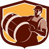 stock photo of keg  - Retro style illustration of a bartender worker carrying beer keg barrel drum looking up set inside shield on isolated white background - JPG
