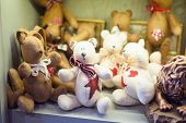 stock photo of minion  - Street sales stand with teddy bears handmade - JPG
