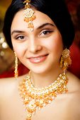 image of sari  - beauty sweet indian girl in sari smiling close up with jewellery - JPG