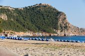 picture of cleopatra  - castle of Alanya built on rocks and beach of Cleopatra Antalya Turkey - JPG