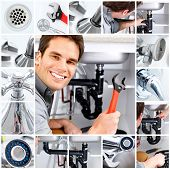 picture of plumber  - Young plumber fixing a sink - JPG