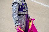 foto of bullfighting  - Detail of a bullfighter suit in the bullfight - JPG