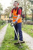 foto of trimmers  - portrait of worker with hedge trimmer in a garden - JPG