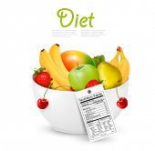 picture of nutrients  - Bowl of healthy fruit with a nutrient label - JPG
