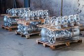 image of dispatch  - Industrial valves ready for dispatch on Euro palletes