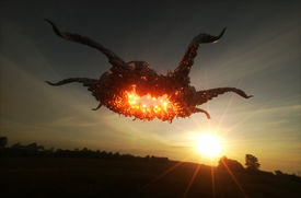 picture of ovni  - 3d render image of ufo hovering over field - JPG