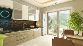 picture of flush  - modern kitchen design with flush cabinet render - JPG