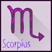 pic of zodiac sign  - Card zodiac sign on a colored background long shadow sign name sign - JPG