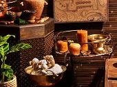 stock photo of panchakarma  - Luxury ayurvedic spa massage still life - JPG