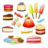 image of ice-cake  - Sweet food set with layered cake ice cream candy isolated vector illustration - JPG
