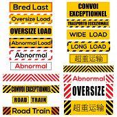 foto of oversize load  - Various oversize load international signs and symbols  - JPG