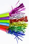 image of blowers  - Party Horn Blower with colored streamers on white background - JPG