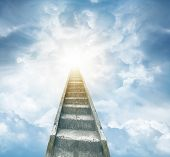 picture of stairway  - Stairway leading up to bright light  - JPG