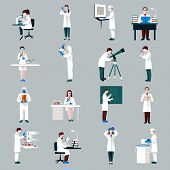 picture of scientist  - Scientists characters set with male and female people in laboratory isolated vector illustration - JPG