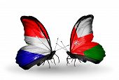 foto of holland flag  - Two butterflies with flags on wings as symbol of relations Holland and Oman - JPG