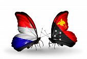 stock photo of holland flag  - Two butterflies with flags on wings as symbol of relations Holland and Papua New Guinea - JPG