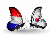 stock photo of holland flag  - Two butterflies with flags on wings as symbol of relations Holland and South Korea - JPG