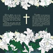 picture of funeral  - Vector funeral card with bouquets of white lilies - JPG