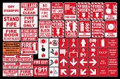 image of accident emergency  - Vector pack of different Fire Emergency Sings - JPG