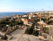 stock photo of crusader  - The view of the ancient city of Byblos from the crusader castle - JPG