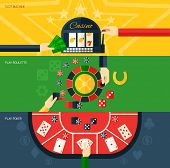 picture of coin slot  - Casino flat horizontal banner set with slot machine play poker and roulette elements isolated vector illustration - JPG