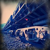 image of railcar  - railcars for the delivery of iron ore from the pit mine - JPG