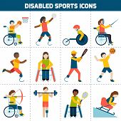 pic of handicapped  - Disabled sports design concept with handicapped people playing football fencing cycling icons set isolated vector illustration - JPG