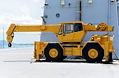 image of boom-truck  - The yellow crane on the warship - JPG