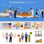 picture of supermarket  - People buying food products in supermarket infographics set with charts vector illustration - JPG