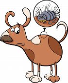 image of spotted dog  - Cartoon Illustration of Funny Dog with Flea in his Hair - JPG