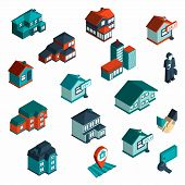 stock photo of commercial building  - Real estate icon isometric set with houses and commercial buildings 3d isolated vector illustration - JPG