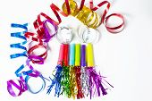 picture of blowers  - Party Horn Blower with colored streamers on white background - JPG