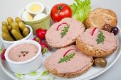 picture of home-made bread  - plate with slices of bread with home made pate decorated with vegetables - JPG