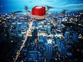 stock photo of take out pizza  - 3d image of futuristic pizza delivery drone - JPG