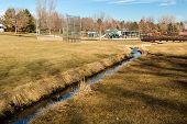 foto of suburban city  - Typical suburban American park in late January. ** Note: Soft Focus at 100%, best at smaller sizes - JPG