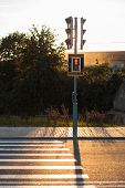 picture of pedestrian crossing  - Red traffic lights and pedestrian crossing - JPG